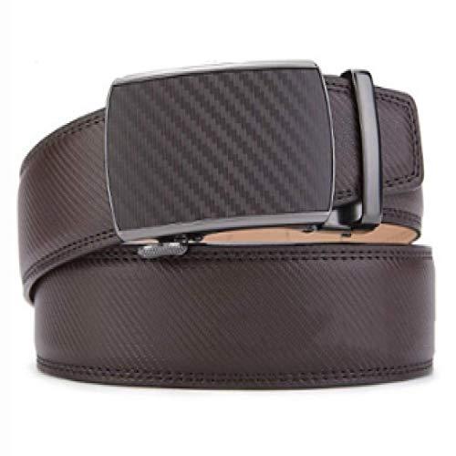 Xme Cinturón de cuero de negocios para hombres de nuevo estilo con hebilla automática, cinturón suave con patrón de fibra de carbono de cuero de primera capa para hombres