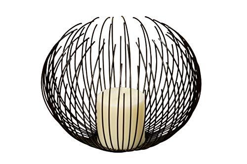Kerzenhalter / Windlicht / Sturmlaterne, Durchmesser 24 cm, Eisen, schwarz