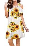 Bluetime Women Criss Cross Neckline Plus Size Sundresses Cold Shoulder Plus Size Summer Dresses (XXL, Floral5)
