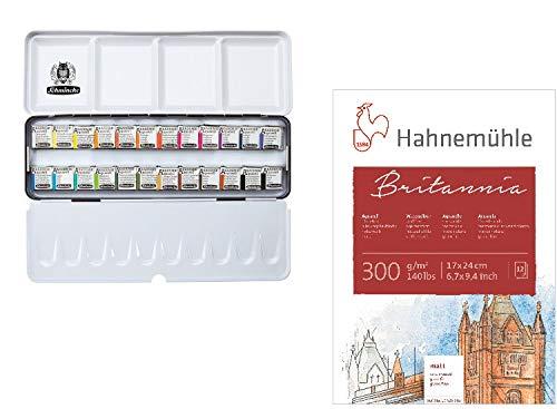 Schmincke Aquarellfarbe, Akademie Aquarell Malkasten, Metallkasten, 24 x 1/2 Näpfchen + Gratis Aquarellblock von Hahnemühle
