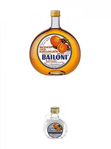 Bailoni Marillen Likör Österreich 0,7 Liter + Bailoni Gold Marillen Schnaps Österreich Miniatur 24 x 2 cl