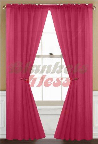 "Awad Home Fashion 1 Panel Solid Fuschia Pink Sheer Voile Window Curtain Treatment Drape 55"" X 84"""