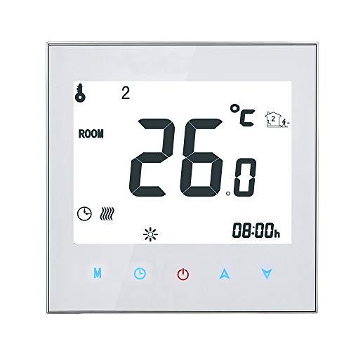 KKmoon Thermostat Programmierbarer Raumthermostat Heizungsthermostat Smart Touchscreen-Thermostat für Fußbodenheizungssystem 95-240V
