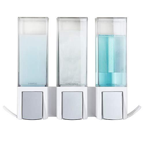 Better Living Products Clever - Dispensador Triple de jabón y Ducha, Color Blanco y Chapado en Cromo