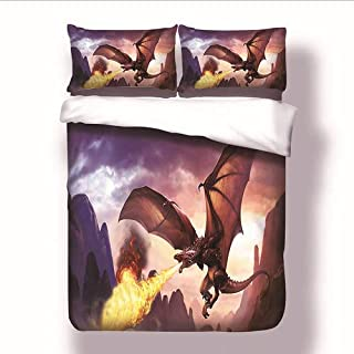 Sharper Glory Game of Thrones Unique Flying Dragon Spouting Fire Duvet Cover Set,3 Pieces Decorative Stylish Brushed Microfiber Bedding Set with Zipper no Comforter (King (230x264cm))