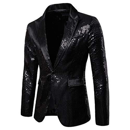 Adlforever Herren Pailletten Anzug Shiny Glitzer Sakko Suit Anzüge für Hochzeit Party Nachtklub Jacke Host Kostüm Slim Fit Herren Modisch Blazer Mantel Männer Outwear S-2XL