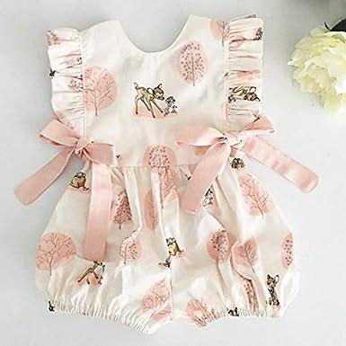 Koitniecer Neugeborenes R/üschen-Spielanzug-Baby-M/ädchen-Normallack-Kleidungs-Sleeveless Overall