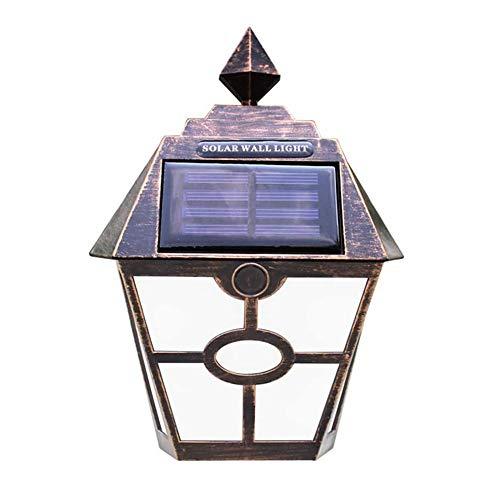 2 Pcs Luz Solar Led Lampara Impermeable lámpara de pared Luz Exterior,Rústico Rural bronce Solar Fácil de Instalar para cualquier Casa Lámpara de Jardin Cerca Garaje Cobertizo Pasarelas las Escaleras