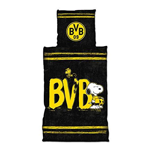 Borussia Dortmund, BVB-Bettwäsche Snoopy, Schwarz, Gelb, 135x200cm
