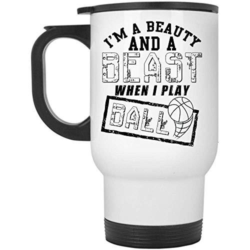 Taza de viaje para jugadores de voleibol, soy una bella y una bestia cuando juego a la pelota (taza de viaje - blanco)