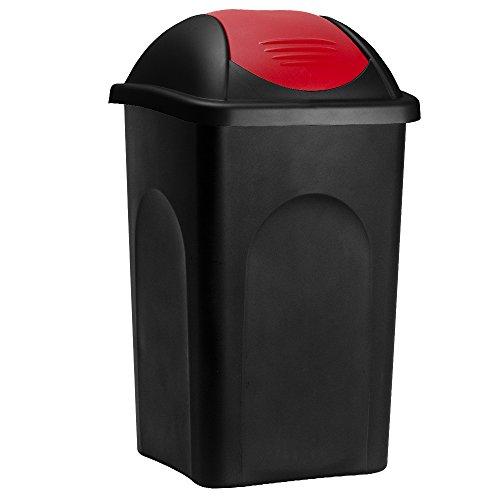 Stefanplast Abfalleimer mit Schwingdeckel 60L schwarz/rot 68x41x41cm - Mülleimer Abfallbehälter Papierkorb made in Italy