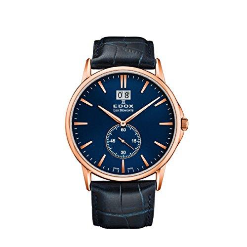 EDOX Herren Analog Quarz Uhr mit Leder Armband 64012-37R-BUIR