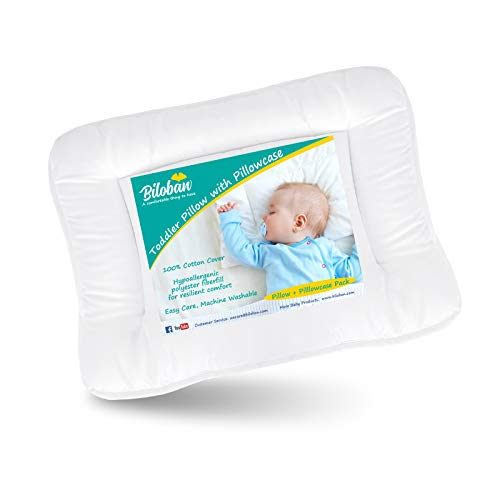 Baby Toddler Pillow for Sleeping with Pillowcase (13 x 18), Baby Toddler 's Flat Pillows, Oeko-TEX Standard 100 Certificated Soft and Safe Travel Pillow Fits Mini Crib or Crib