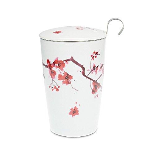 Eigenart TEAEVE® Teetasse, Becher mit Sieb und Deckel Cherry Blossom + Geschenkkarton