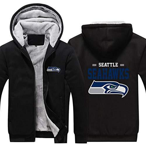 LLforever NFL Jerseyhoodie Seattle Seahawks, Plus Samt-Rugby-Hemd-Langärmlige T-Shirt-Druck Hemd Mit Kapuze Beiläufige Bequeme Thick Pullover,A,L