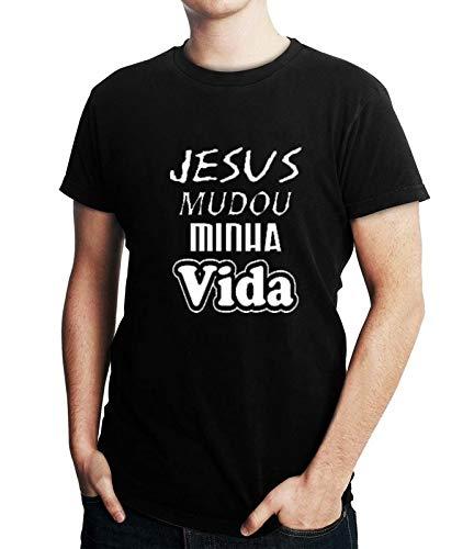 Camiseta Masculina Gospel Evangélica Cristã Jesus Mudou Minha Vida - Personalizadas/Customizadas/Estampadas/Camisa Blusas Baratas Modelos Legais Loja Online (preto, g)