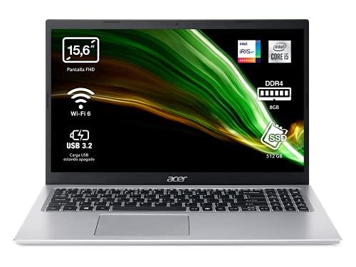 "Acer Aspire 5 A515-56 - Ordenador Portátil 15.6"" Full HD, Laptop (Intel Core i7-1165G7, 8 GB RAM, 512 GB SSD, Intel Iris Xe Graphics, ComfyView, Sin OS), PC Portátil Plata, Teclado QWERTY Español"