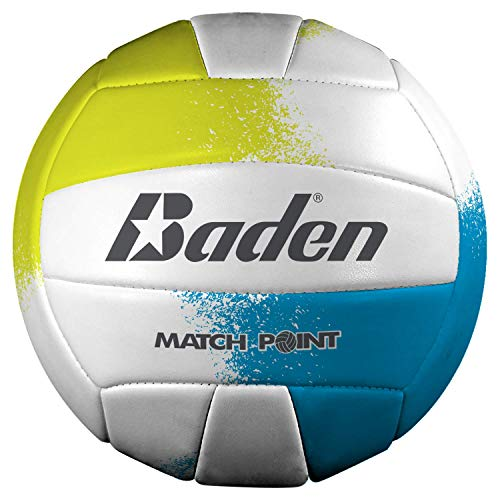 Baden Match Point Volleyball (Official Size), Neon Blue/Yellow/White