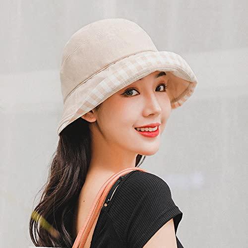 Red red pescador hacclays viento de Hong Kong INS Bai-line japonés literario versión coreana de la marea pequeño borde visera parasol sombrero de protección solar-Beige_M (56-58cm)