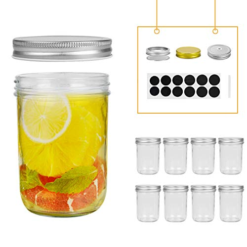 FRUITEAM 16 oz Smooth Sided Mason Jars with Silver Metal Airtight Lids - Set of 8, Transparent Glass Canning Jar Ideal for Jellies, Smoothies, Salsas, Sauces, Relishes, Fruit Butters