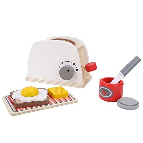 Pretend Play Toaster Set, Kinder aus Holz Pop up Küche Spielzeug Charakter Rollenspiel Indoor Early Cognitions Spiel mit Zubehör Kinder Weihnachten Geburtstagsgeschenk für über 3 Jahre alte Kleinkinde