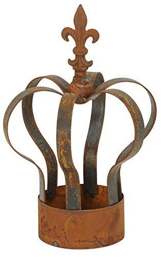 Novaliv Dekokrone rost I 21x33 I mit Boden I für Teelicht I Metallkrone Gartenkrone Dekokrone Gartenstecker rost Gartendeko Vintage