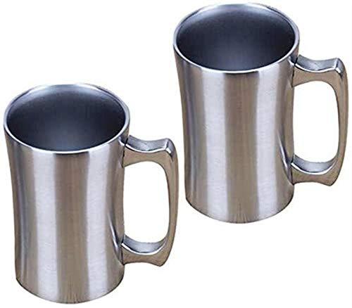 RENFEIYUAN Taza de café aislada, 2 Paquetes, Taza de Acero Inoxidable, jarras de Cerveza de 16 oz, Taza de café Doble, Tazas Gigantes con Mango, Cerveza aislada Taza con Tapa Jarra de Cerveza