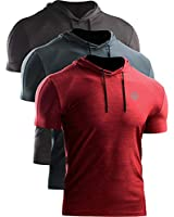 Neleus Men's 3 Pack Dry Fit Running Shirt Workout Athletic Shirt with Hoods,Grey Black,Slate Gray,Red,US 2XL,EU 3XL
