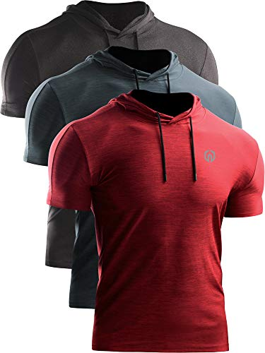 Neleus Men's 3 Pack Dry Fit Running Shirt Workout Athletic Shirt with Hoods,Grey Black,Slate Gray,Red,US L,EU XL