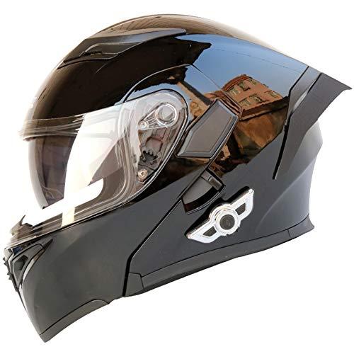 Casco Motocicleta Bluetooth Integrado Modular,Casco de Moto Integrado con Visera Solar Doble,ECE 22-05 Aprobación Casco Moto Función de Respuesta Automática Bluetooth Incorporada H,M-=57~58CM