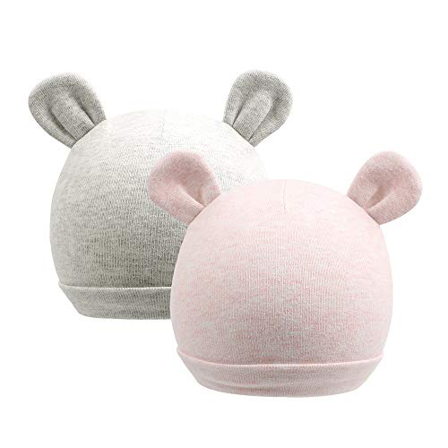 Zsedrut Baby Boy Beanie Newborn Girl Hospital Hat 0-4M Toddler Nursery Cap Rabbit,Bear Ears,100% Cotton,Double Fabric (2 Pack Grey&Pink)