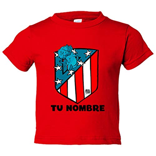 Camiseta niño Atlético de Madrid nuevo escudo personalizable con nombre - Rojo, 12-18 meses