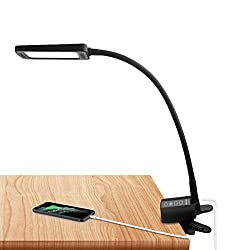 clip on reading light with timer and memory function warm and cool color options.