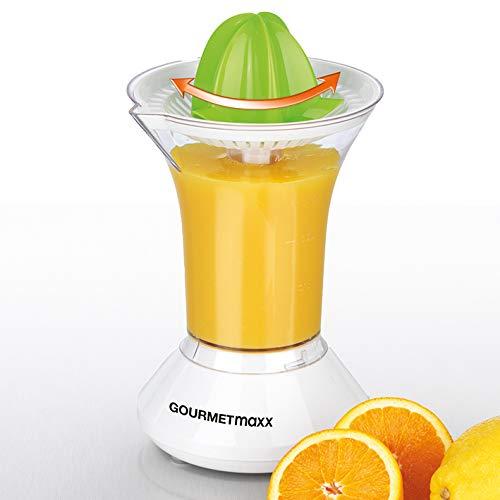 GOURMETmaxx Saftpresse Elektrisch | Orangenpresse und Zitruspresse mit 2 autom. links-& rechtsrotierenden Presskegeln | 0,5 Liter Saftbehälter [25 Watt]