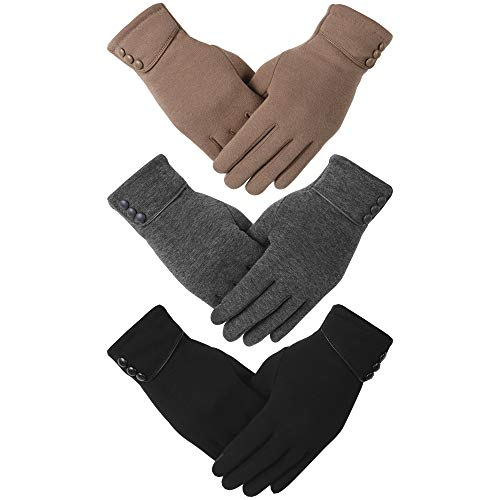 Dimore 3 Pairs Winter Gloves for Women with Touch Screen Fingers Warm Thick Texting (B-3pair(1Black+1Dgrey+1Khaki))