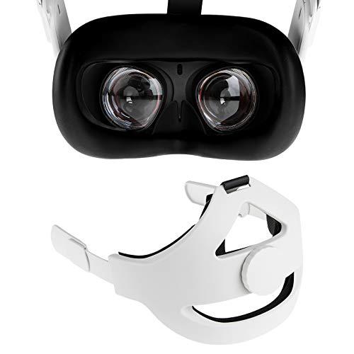 NEWZEROL Sangle de Tête + Couvre-Visage en Silicone [Noir] Compatible pour Oculus Quest 2 [Support Amélioré] Réglable Réduire la Pression de La tête Toucher Confortable Accessoires VR