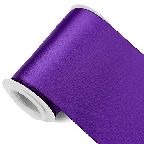 Humphrey's Craft 4 Inch Purple Double Faced Satin Ribbon - 5 Yards Variety of Color and Sizes for Crafts Gift Wrapping Cutting Ceremony Decoration Chair Sash Wedding and Dining Tables.