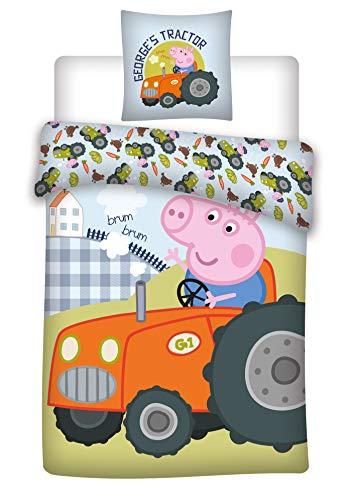 Peppa Pig - Juego de cama con diseño de George y su tractor para bebé, funda nórdica de 100 x 140 cm y funda de almohada de 40 x 60 cm, 100% algodón