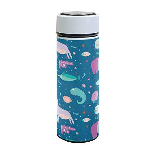 Emoya Edelstahl-Vakuum-Isolierbecher 500 ml, Cartoon-Einhorn, Elefant, Fisch, Blasen und Feuerwerke, Wasserflasche, 17oz