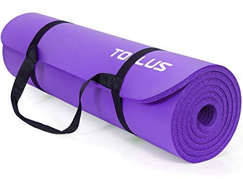 TOPLUS Verdickte Gymnastikmatte Phthalatfreie Yogamatte rutschfest und gelenkschonend Sportmatte für Yoga Pilates Sport mit praktischem Trageband Pilatesmatte 183 * 61 * 1 cm,Lila