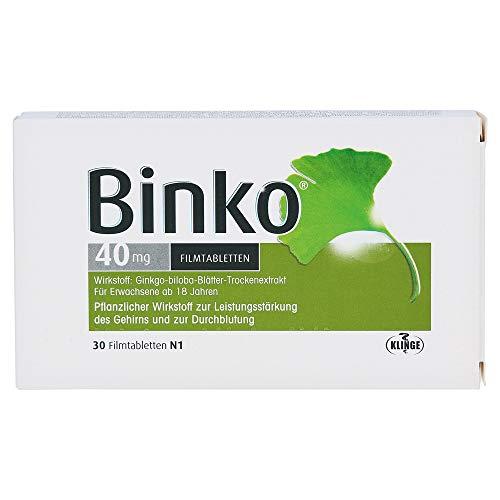 Binko 40 mg Filmtabletten zur Leistungsstärkung des Gehirns und zur Durchblutung, 30 St. Tabletten