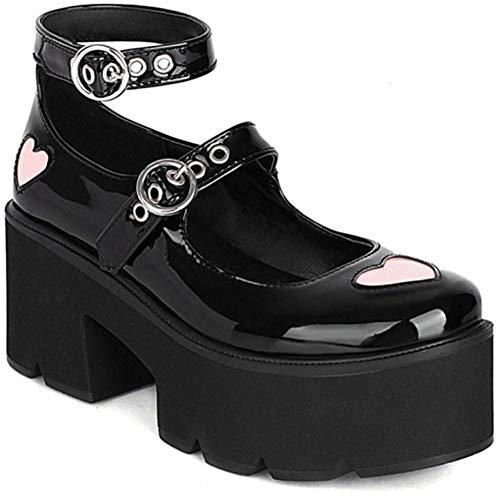 AOSPHIRAYLIAN Mary Jane Lolita - Zapatos de tacón grueso con plataforma para mujer, (5Negro.)