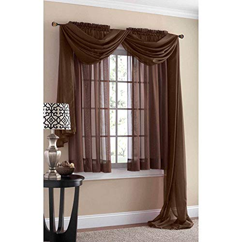 Mainstays Marjorie Sheer Voile Curtain Panel, 59 x 84, Warm Chocolate
