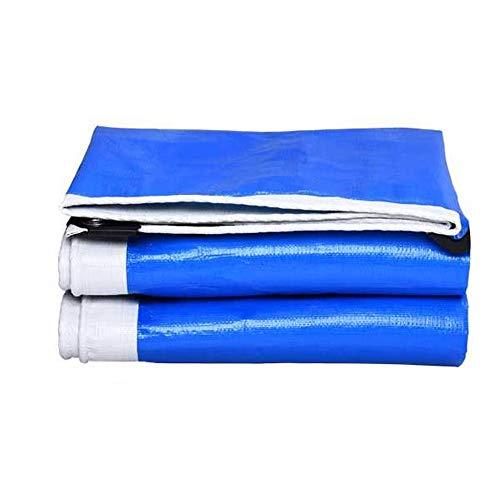 CSQHCZS-FSB Robuust waterdicht dekzeil, blauw en wit, dubbelzijdig, bestand tegen manipulatie, robuust en dik, voor overkapping camping | buiten | erf | carport | schip | Etage | A+