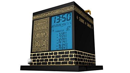 MIRAC Kaaba Azan Prayer Nimaz Clock, Islamic Table Adhaan Reminder Azan Saati (Black)
