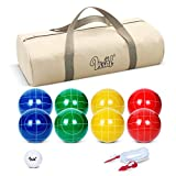 VSSAL Bocce Balls Sets 90mm for Family Backyard Bocci Games Beach Lawn Yard Kids, Set of 8 Polyresin Bochie Ball, 1 Pallino, Carrying Bag, Measuring Rope (Green/Yellow/Red/Blue, 2-8 Players)