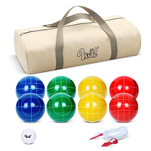 Bocce Balls Set 90mm for Backyard Lawn Beach Outdoor Family Bocci Yard Game for Kids, Set of 8 Polyresin Bochie Ball, 1 Pallino, Carrying Bag, Measuring Rope (Red/Yellow/Green/Blue, 2-8 players)
