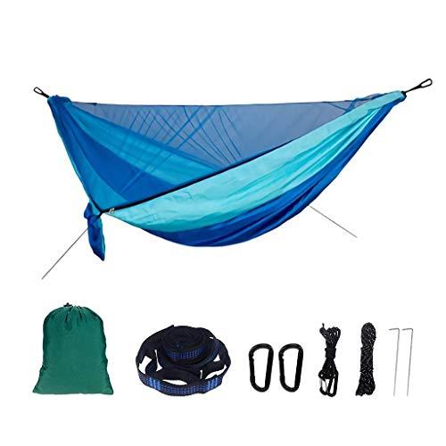 Hamacs, Meubles de Camping Tente Double Arbre Anti-Moustique Extérieur Robuste et Durable Multi-scène Applicable Charge 300 kg (Couleur: Bleu foncé et Bleu Clair, Taille: 290 * 140 cm) Confortable