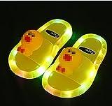 Kirin-1 Infradito Stoffa,Sandali Luminosi della Gelatina per Bambini PVC Pantofole Antiscivolo in PVC per L'Estate Anatra Beach House e Bagno per Bambini 2021-Giallo_34-35.