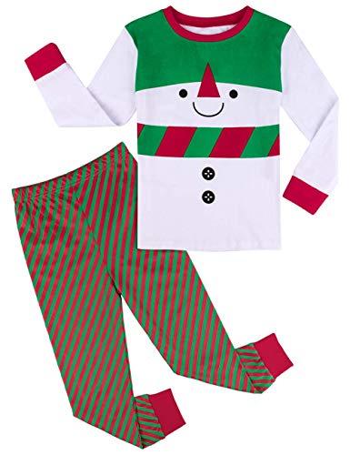 mintgreen Pijama Navidad Niño Bebé Manga Larga Disfraz Muñeco de Nieve Pantalones Rayas (Snowman, 2 Añoss)